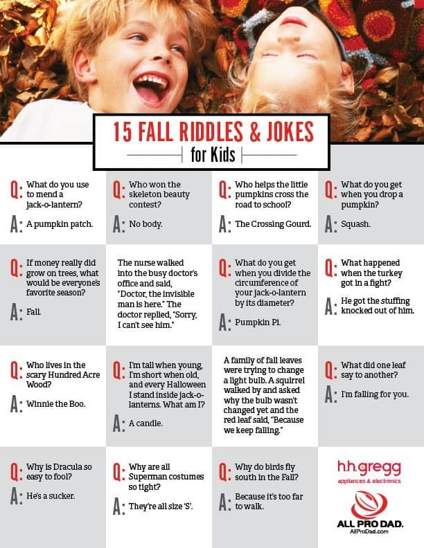 15 Fall Riddles and Jokes for Kids | Thanksgiving ...