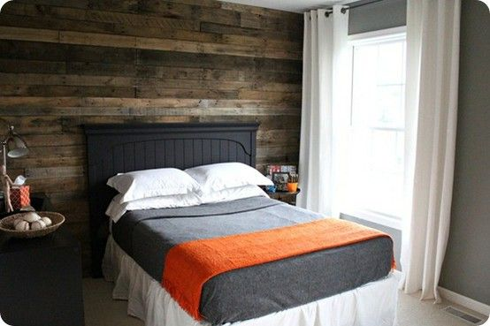Wooden wall made from recycled pallets.