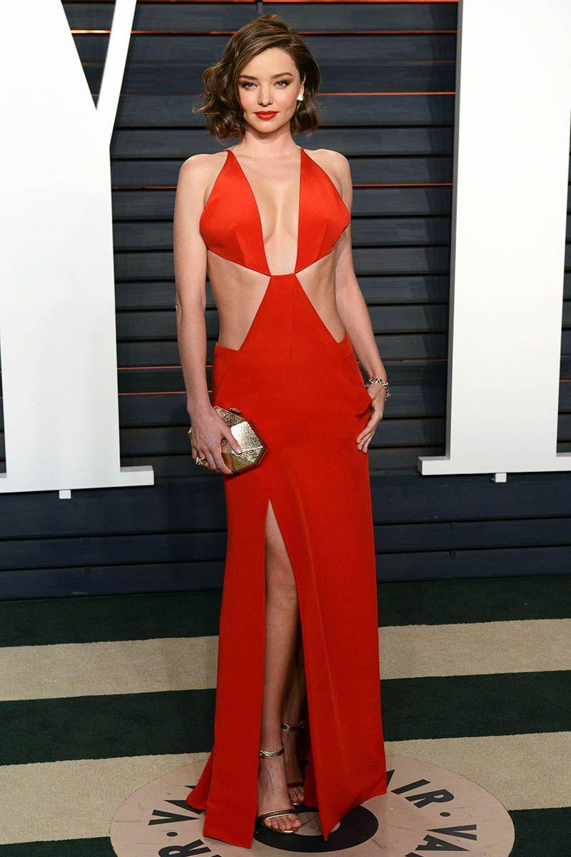 fdd7cf9245 Miranda Kerr Sexy Red Celebrity Prom Dress Vanity Fair Oscar 2016 Party