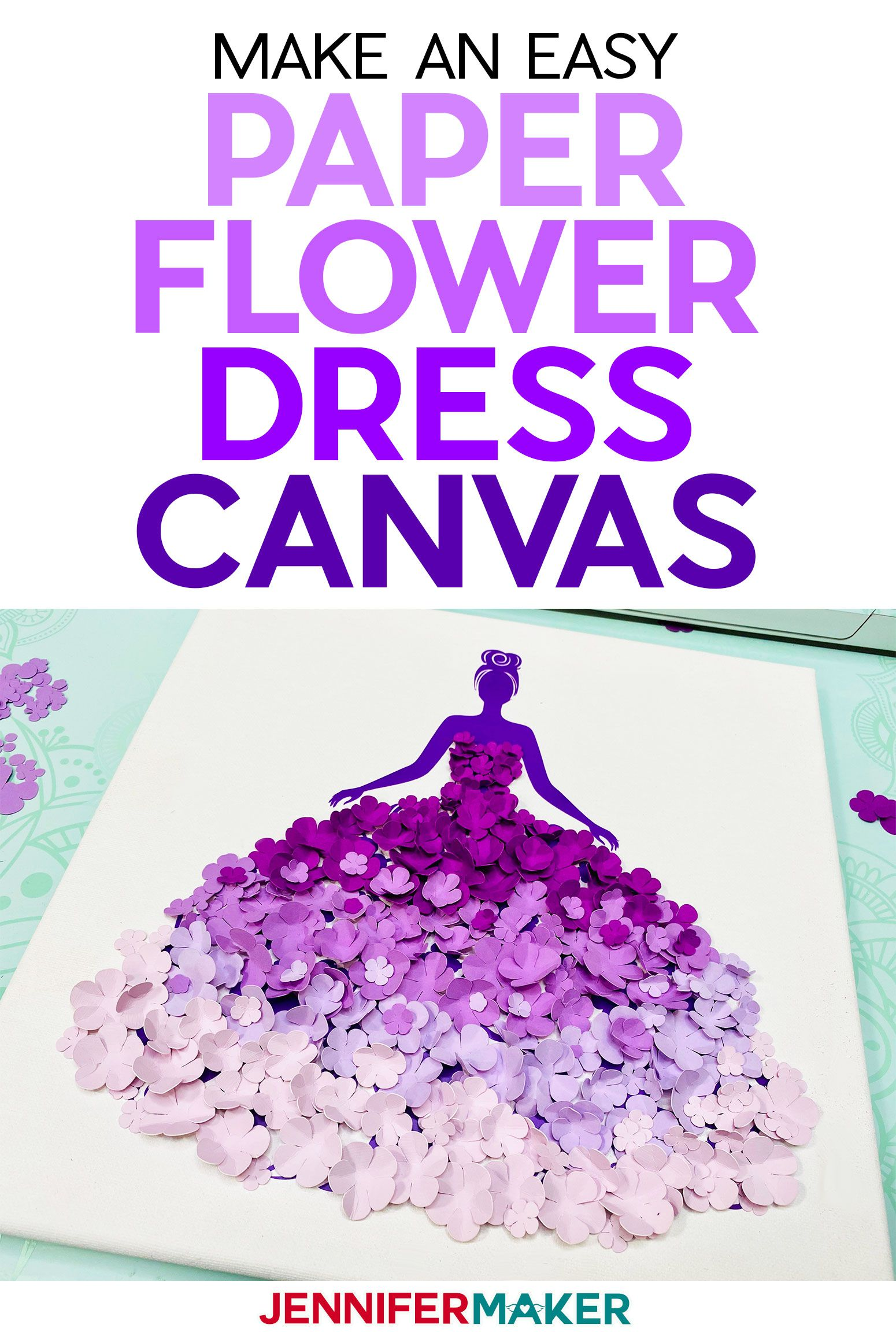 Paper Flower Dress Canvas Wall Art in 2020