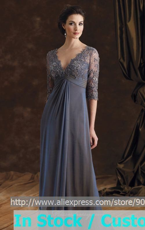 A-line Steel Blue Chiffon Lace Evening Dress 3/4 Sleeve V-neck ...