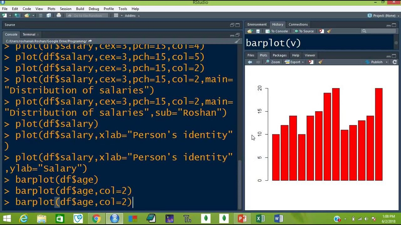 Learn R How to Plot/Chart/Graph the Data in R (Lesson
