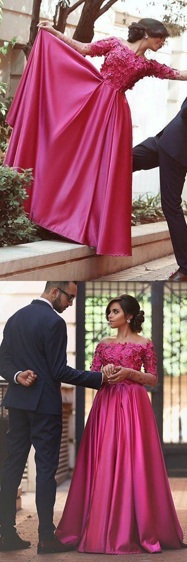 Aline off the shoulder long sleeves sweep train fuchsia prom dress