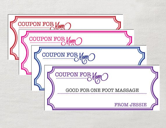 Editable Coupons for Mom Instant Download by LaurEvansDesign - coupon template download