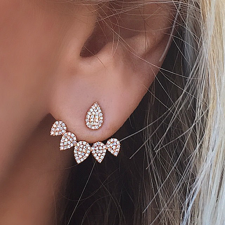 Fashion Women Crystal Stud Earrings 3 Flower Brincos Pendientes Earrings SL