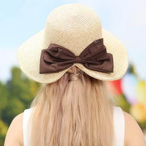 c544f2f4798c2 Back bow straw sun hat for women summer outdoors uv package hats ...