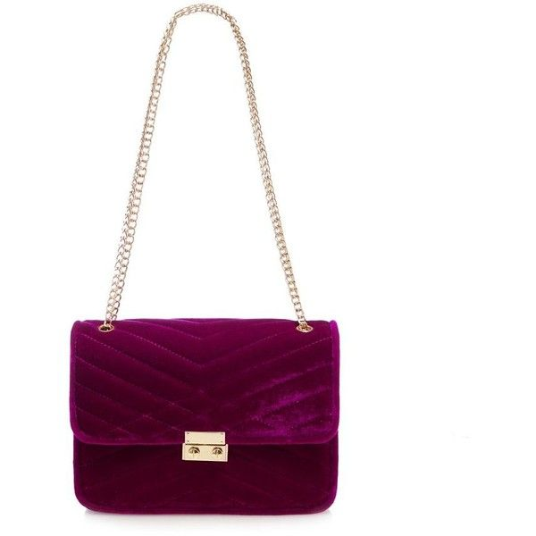 Red Herring Purple Quilted Velvet Shoulder Bag 725 Nio Liked On Polyvore Featuring