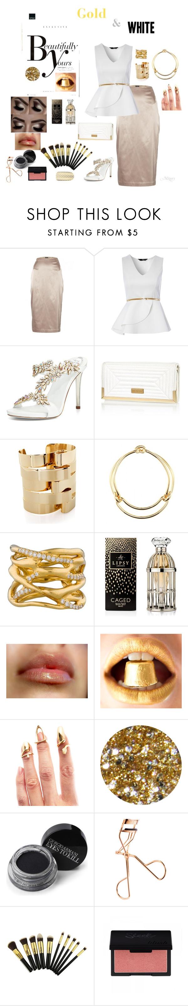 """Gold and white"" by mizery4u ❤ liked on Polyvore featuring Sonam Life, By Malene Birger, Jane Norman, René Caovilla, River Island, Oblik Atelier, Balenciaga, Ippolita, Lipsy and Bijules"