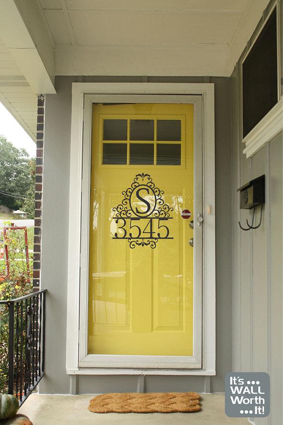 Address With Family Initial Vinyl Door Decal Door Decal Yellow Front Doors Vinyl Door Decal Vinyl Doors