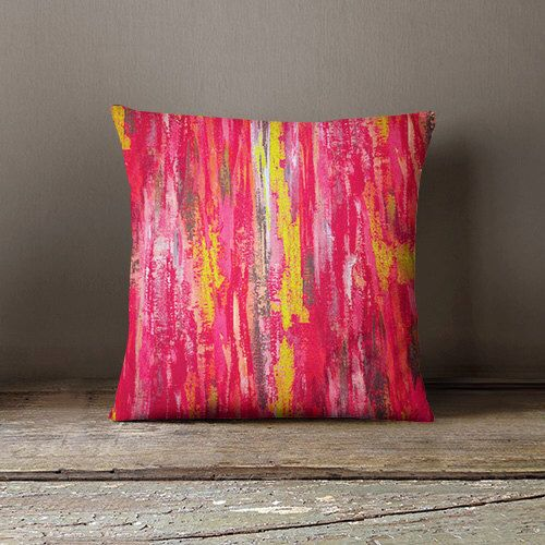Abstract Pillow Cover Pink Grey Yellow Fuschia Modern Home Decor ...