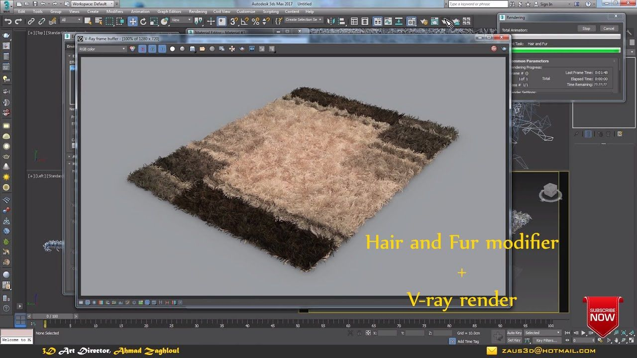 Creating Rugs And Carpets With Hair And Fur Modifier In 3ds Max Using V Ray Render 3ds Max Tutorials Rendering 3ds Max