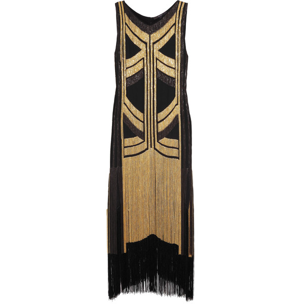 Gucci Fringed chain-embellished silk-georgette dress (7,305 CAD) ❤ liked on Polyvore featuring dresses, gucci, vestidos, gowns, geo dress, geo print dress, geometric dress, gucci dress and brown dress
