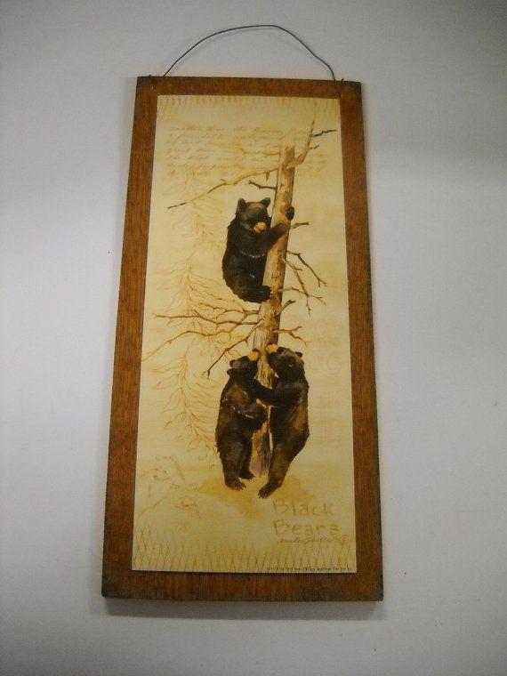 black bears wooden wall art sign lodge cabin camper by melimarlatt ...