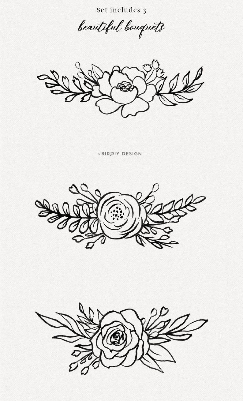 Botanical Illustration Floral Clipart Flowers Clipart