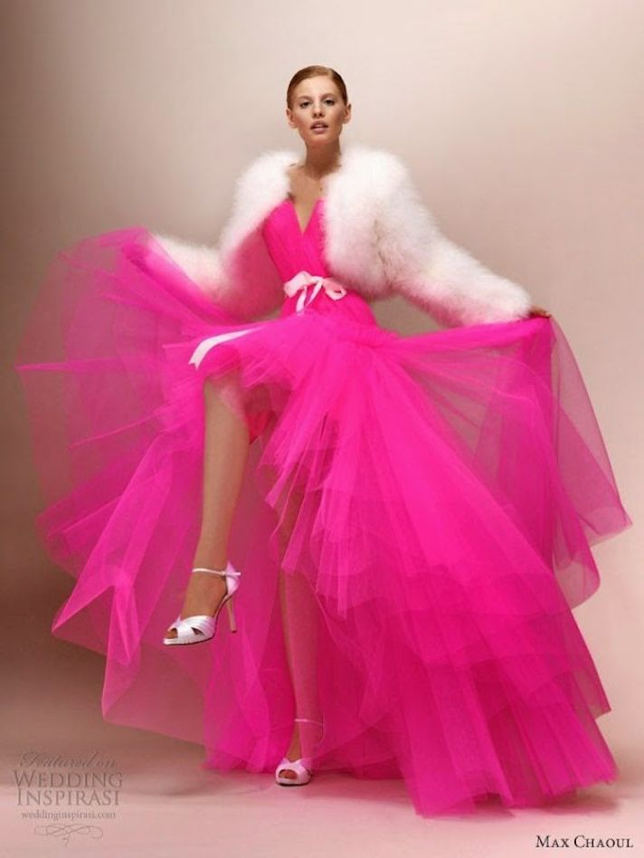 Pink neon wedding dresses