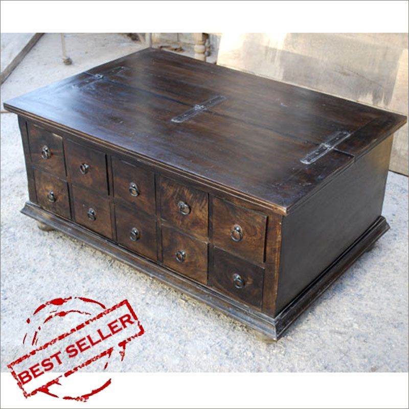 Santa Cruz Mission Pillbox Storage Trunk Coffee Table