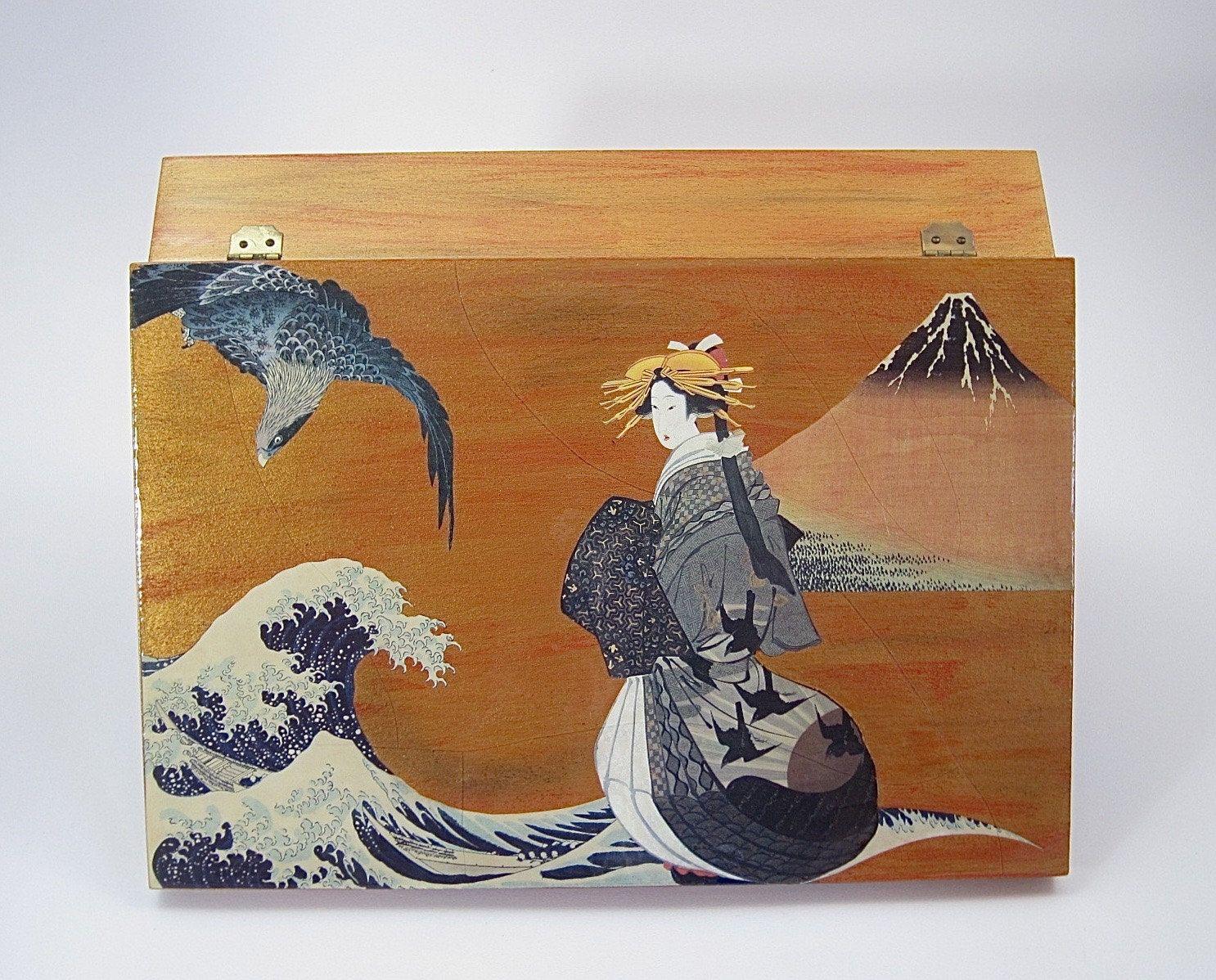 Japanese theme decoupaged box decorative box coffee table box japanese theme decoupaged box decorative box coffee table box keepsake box storage geotapseo Gallery