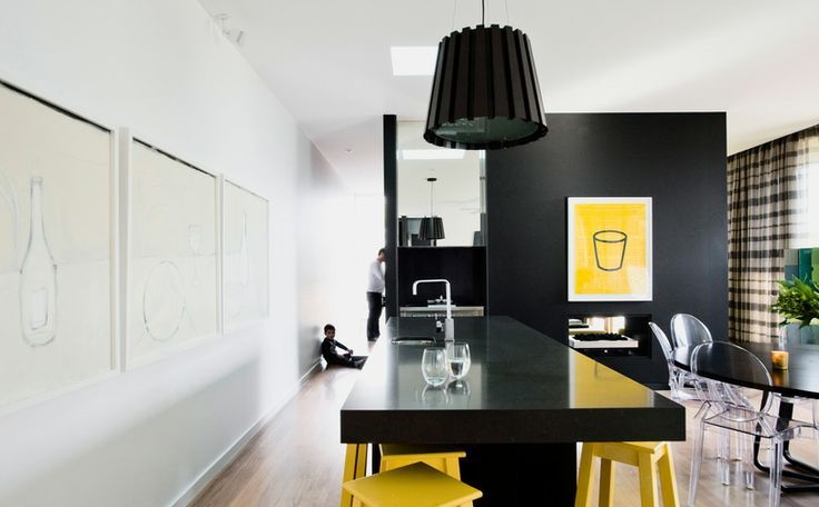 Furniture : Tiny Bright Kitchen With Small Yellow Modern Kitchen Counter And  Black Modern Kitchen Cabinet