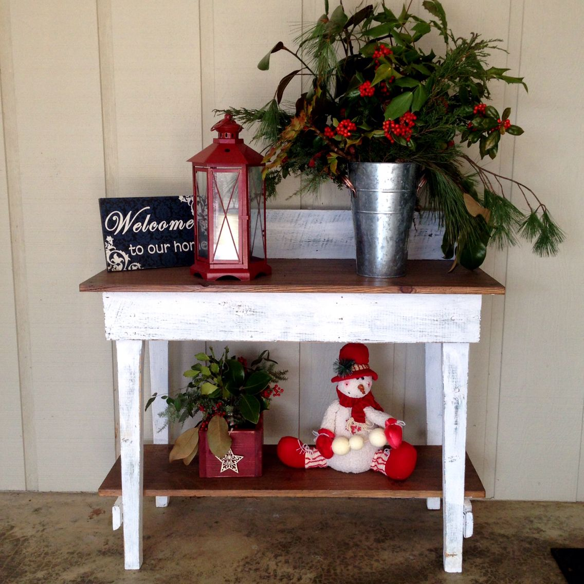Farmhouse entryway rustic console table holly berries