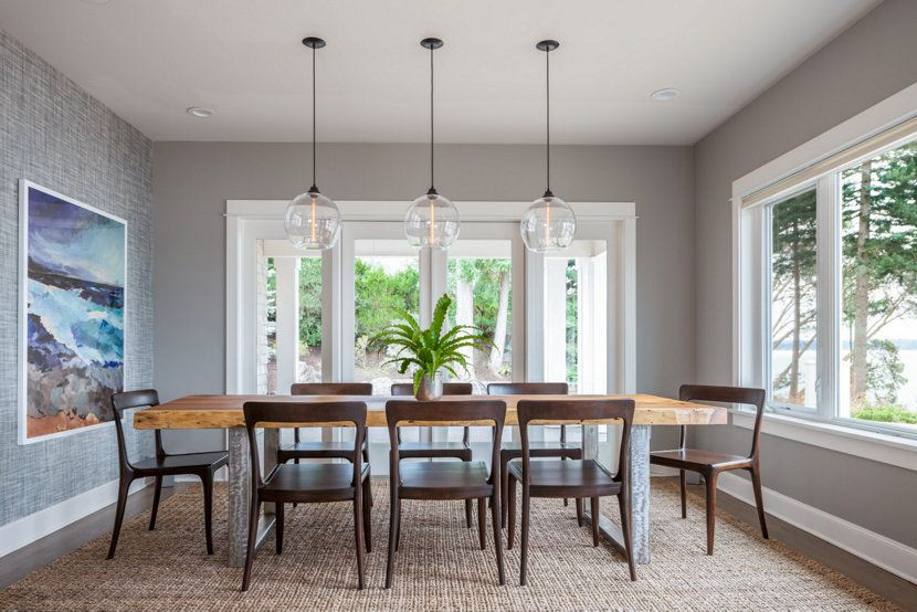 A Stunning Island Interior With Niche Dining Room Pendant Lighting
