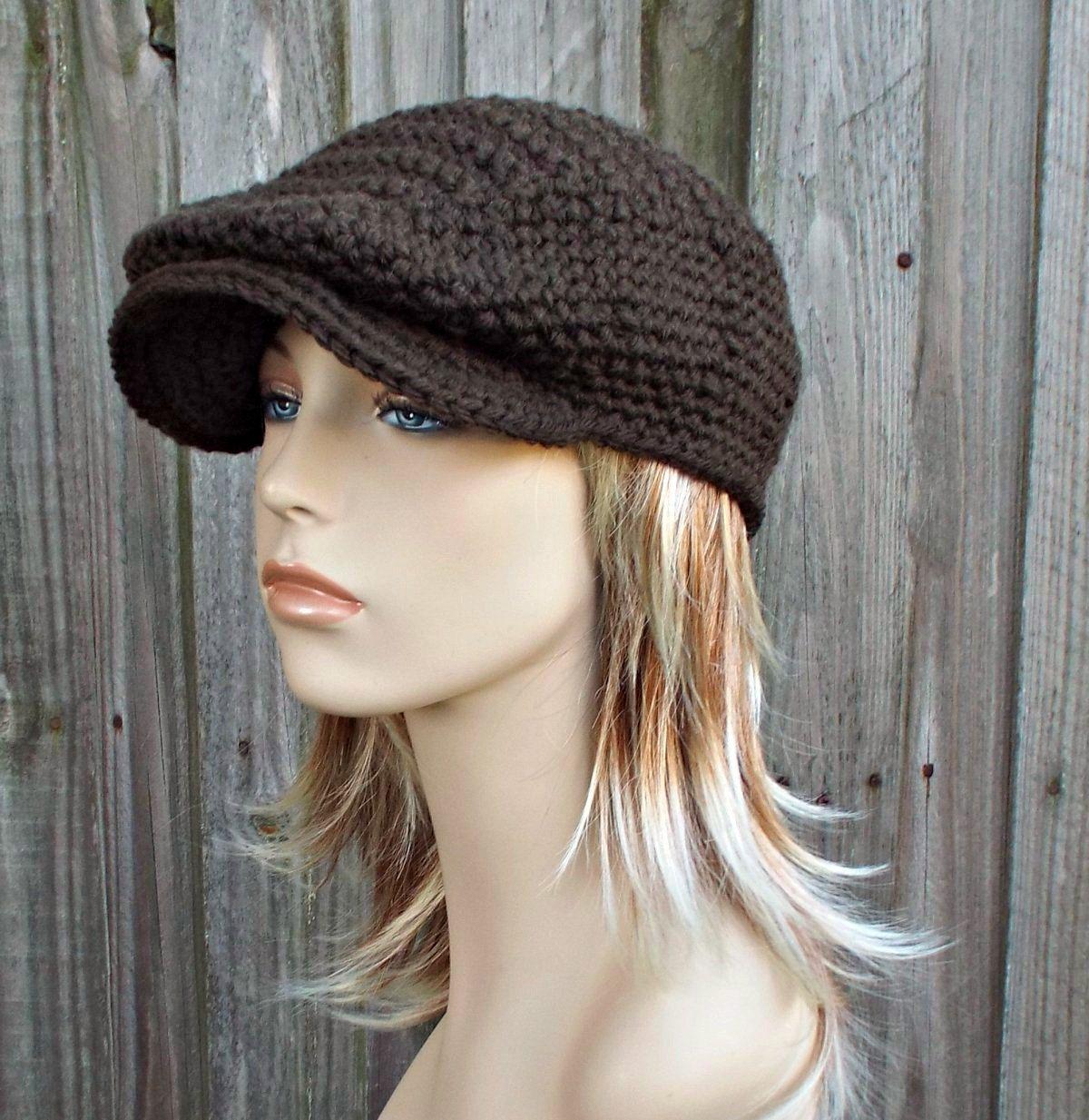 Dark Chocolate Brown Crochet Golf Hat - Womens or Mens Newsboy Flat Cap by  pixiebell on Etsy 5dea73a59962