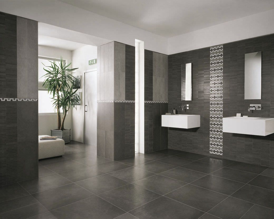 Bathroom: Grey Bathroom Floor Tiles With Two Wall Sinks And Mirror .