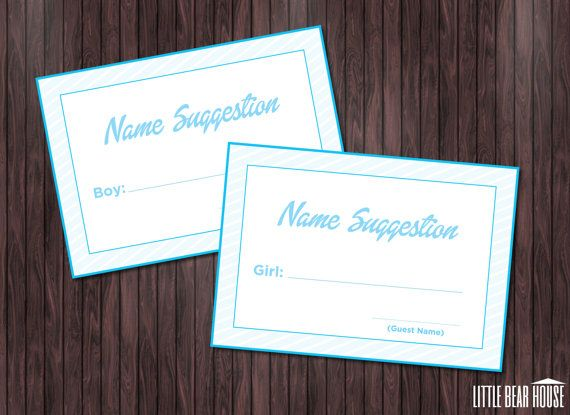 these printable baby shower name suggestion cards are a fun way to