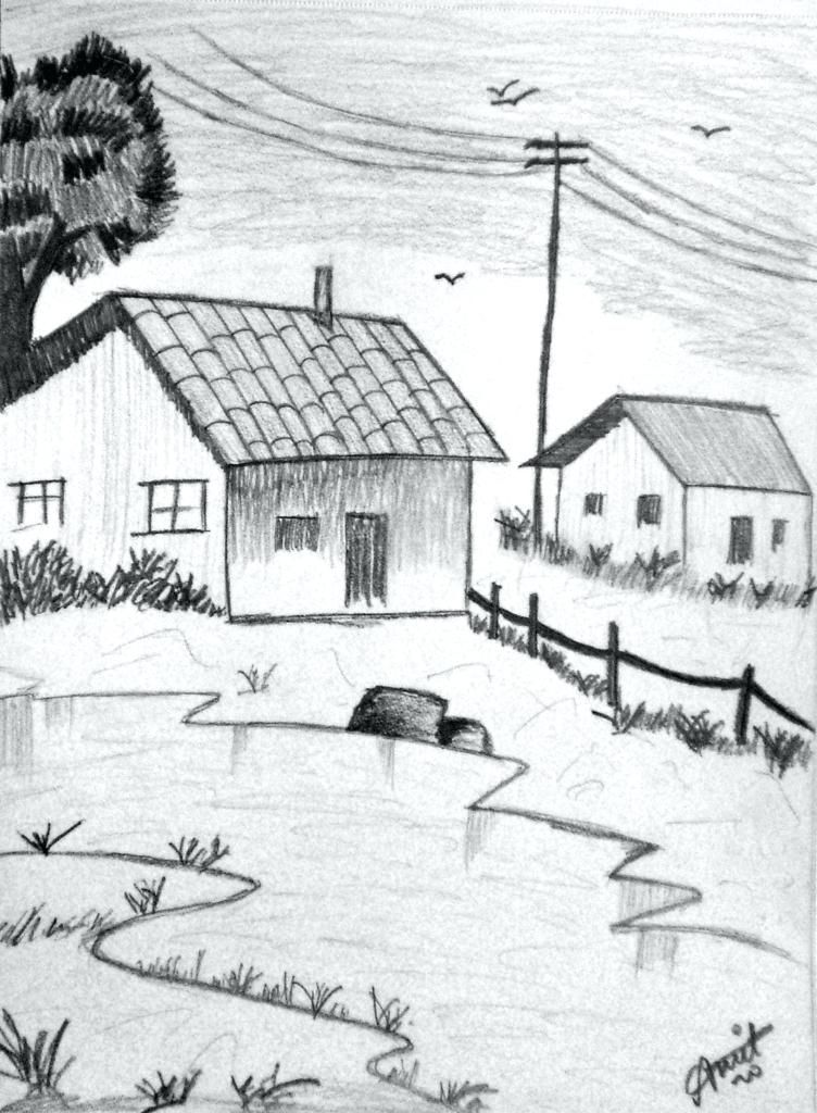 12 Captivating Drawing On Creativity Ideas In 2020 Landscape Drawing Easy Landscape Pencil Drawings Landscape Drawings
