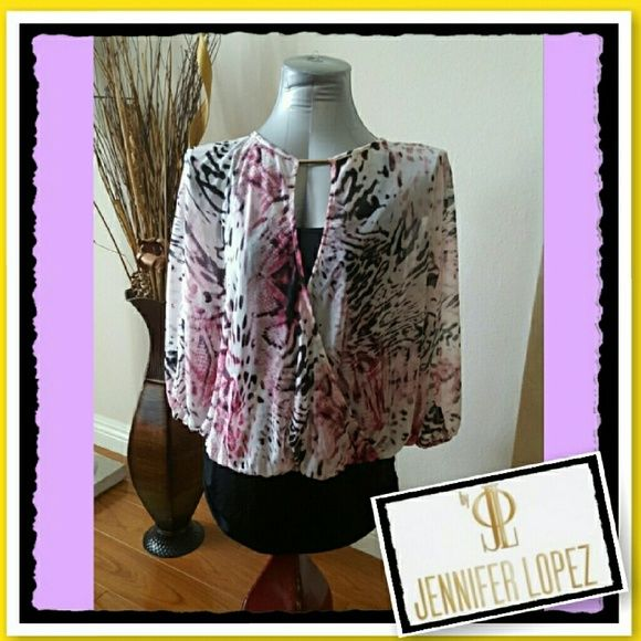 Beautiful blouse ~~ shades of pinks ~~ Just tried on. This was a gift for my mom and she didn't really like the style. Loose fit with built-in camy. Soft fabric looks like chiffon. Super cute! Jennifer Lopez Tops Blouses