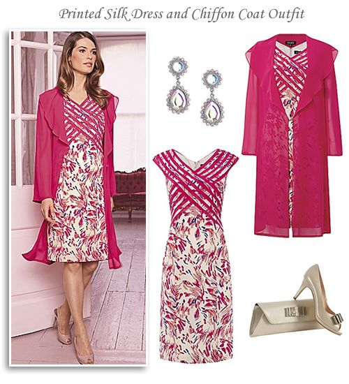 Silk Print Dress and Pink Chiffon Coat Occasion Outfit | Dress ...