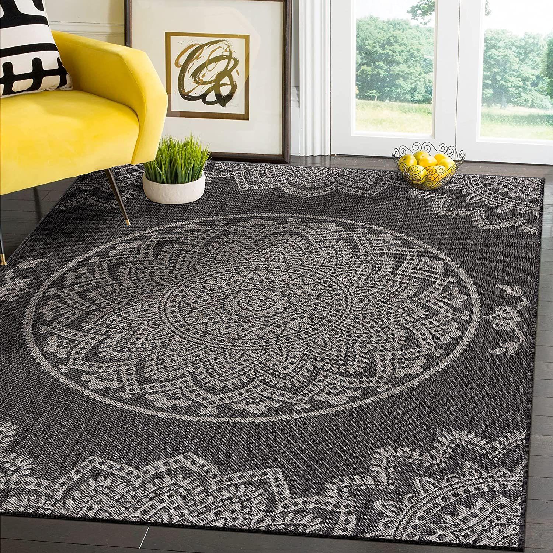 Modern Area Rugs for Indoor Outdoor Medallion   Dark Grey / Light Grey   5x7 Gallery