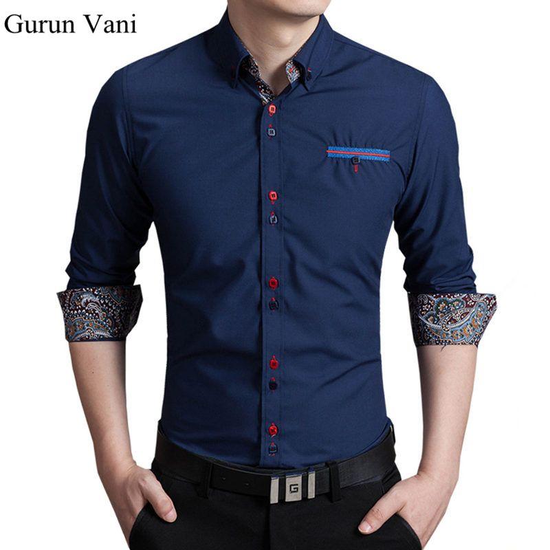 2018 nueva manga larga para hombre camisas de vestir botones de colores  modificar negocio de la moda Slim Fit camisas de algodón camisa Formal para  los ... 2cd99e5ddae