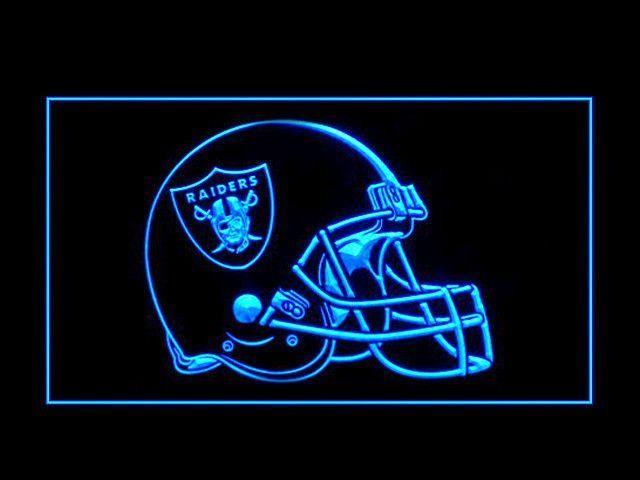 Oakland Raiders Helmet Bar Pub LED Neon Sign with On/Off