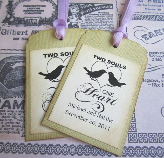 Two Souls One Heart Wedding Tags