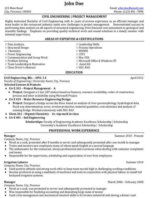 sample resume of civil project engineer