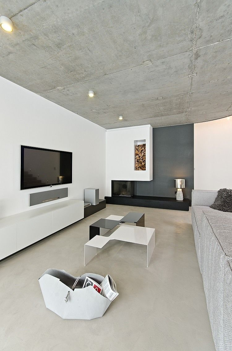 This Concrete Interior Is Part Of A Home Located In Osice Small Village Southwest Hradec Kralove Czech Republic And Was Designed By Oooox