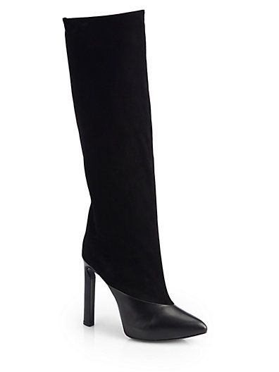 1eadf93b9d8 Jimmy Choo Derive Suede Leather Mixed Media Knee High Boots ...