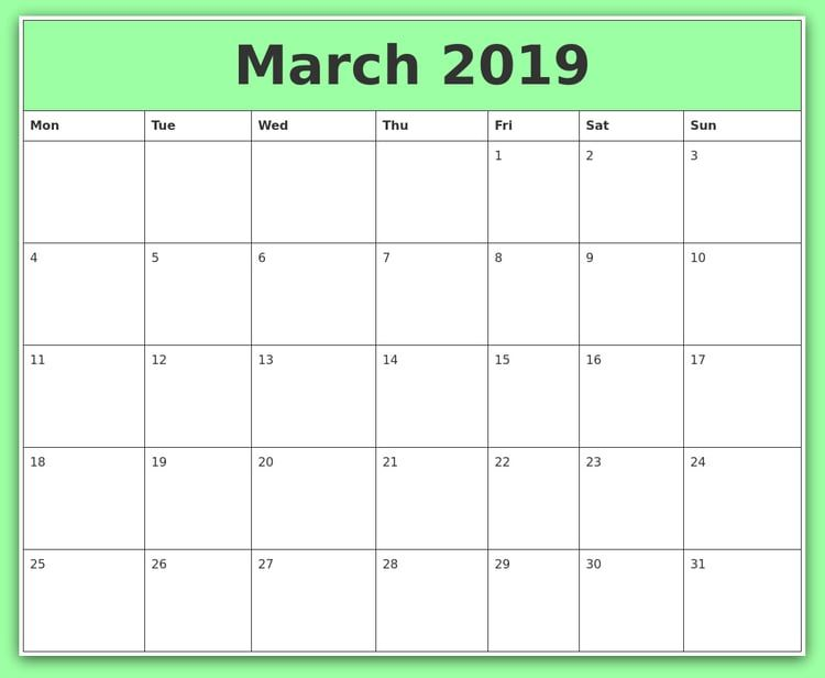 Editable March 2019 Excel Calendar With Images Excel Calendar