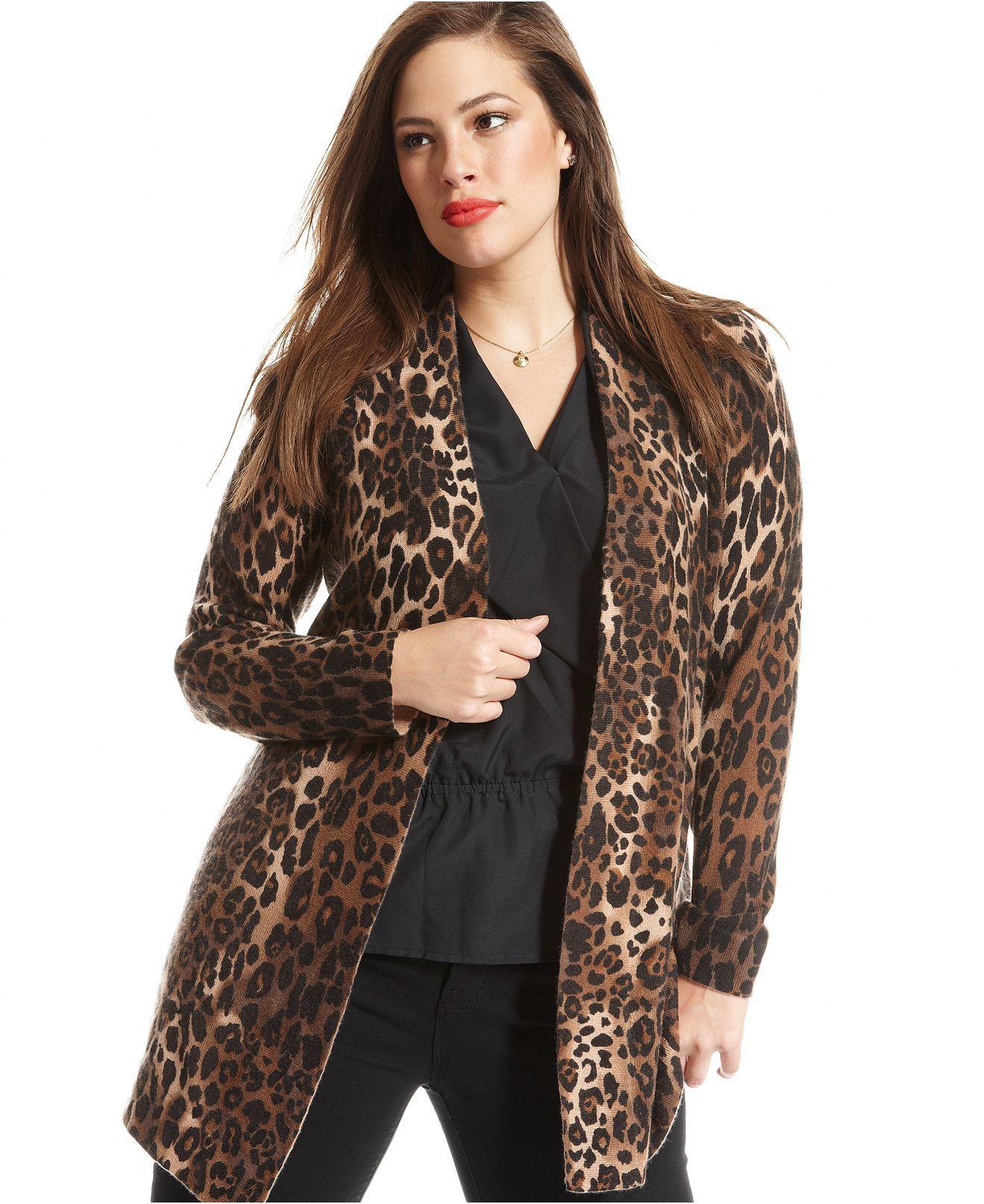 Charter Club Plus Size Sweater, Long-Sleeve Animal-Print Open ...