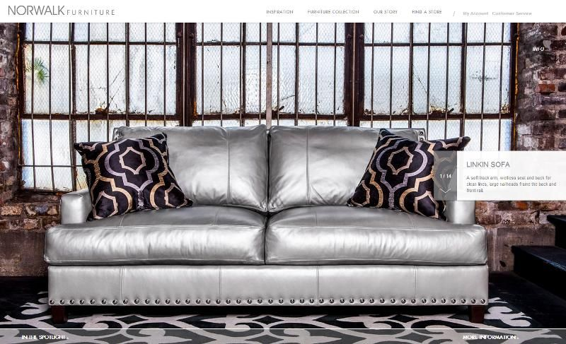 @Norwalk Furniture #Sofa Silver Leather Covering With Nail Heads