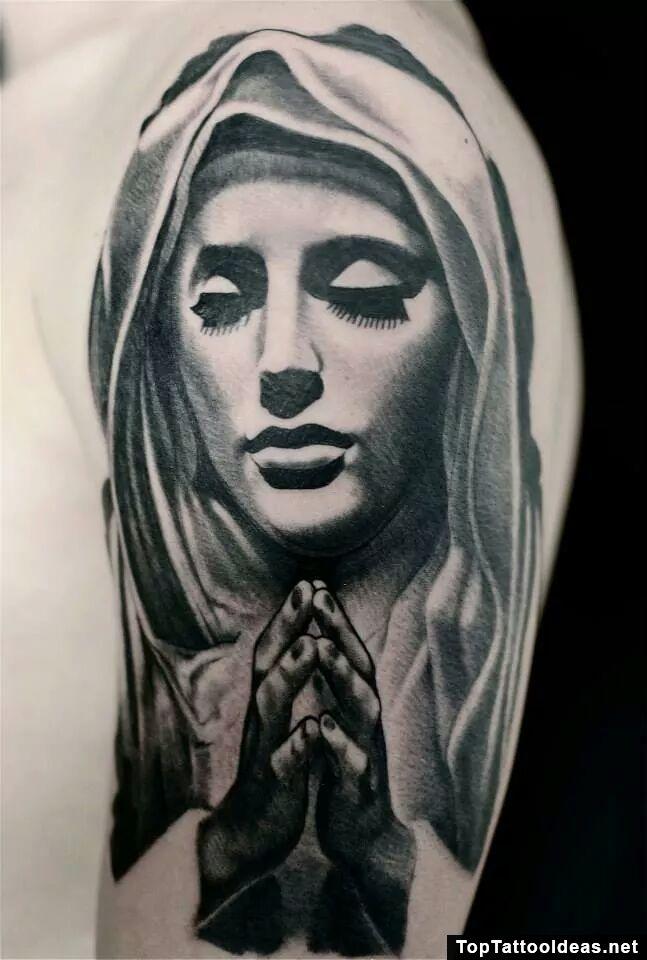 1cf8abd31 virgin mary pray | cameo tattoo inspo | Mary tattoo, Mother mary ...