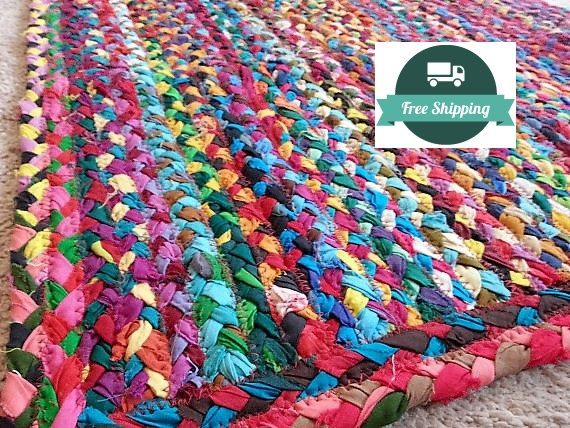 Braided Bright Cotton Rag Rug Bathroom By YourGreatestStory