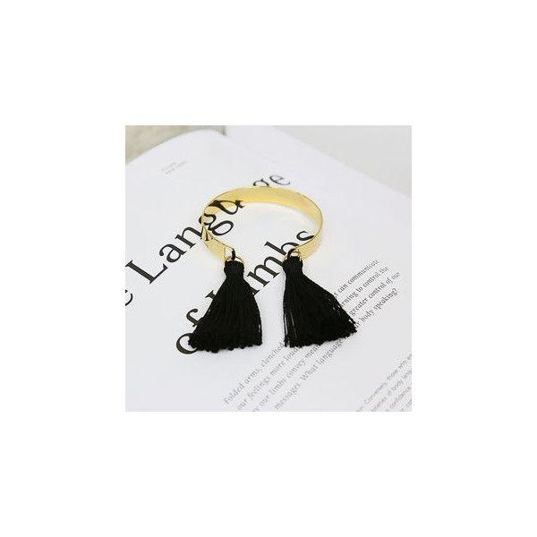 Tasseled Metallic Bangle ($20) ❤ liked on Polyvore featuring jewelry, bracelets, accessories, tassel bracelet, hinged bangle, hinged bangle bracelet, tassel jewelry i black bangle bracelet