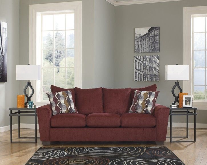 Brogain Burgundy Contemporary Stationary Queen Sofa Sleeper Burgundy Couch Living Room
