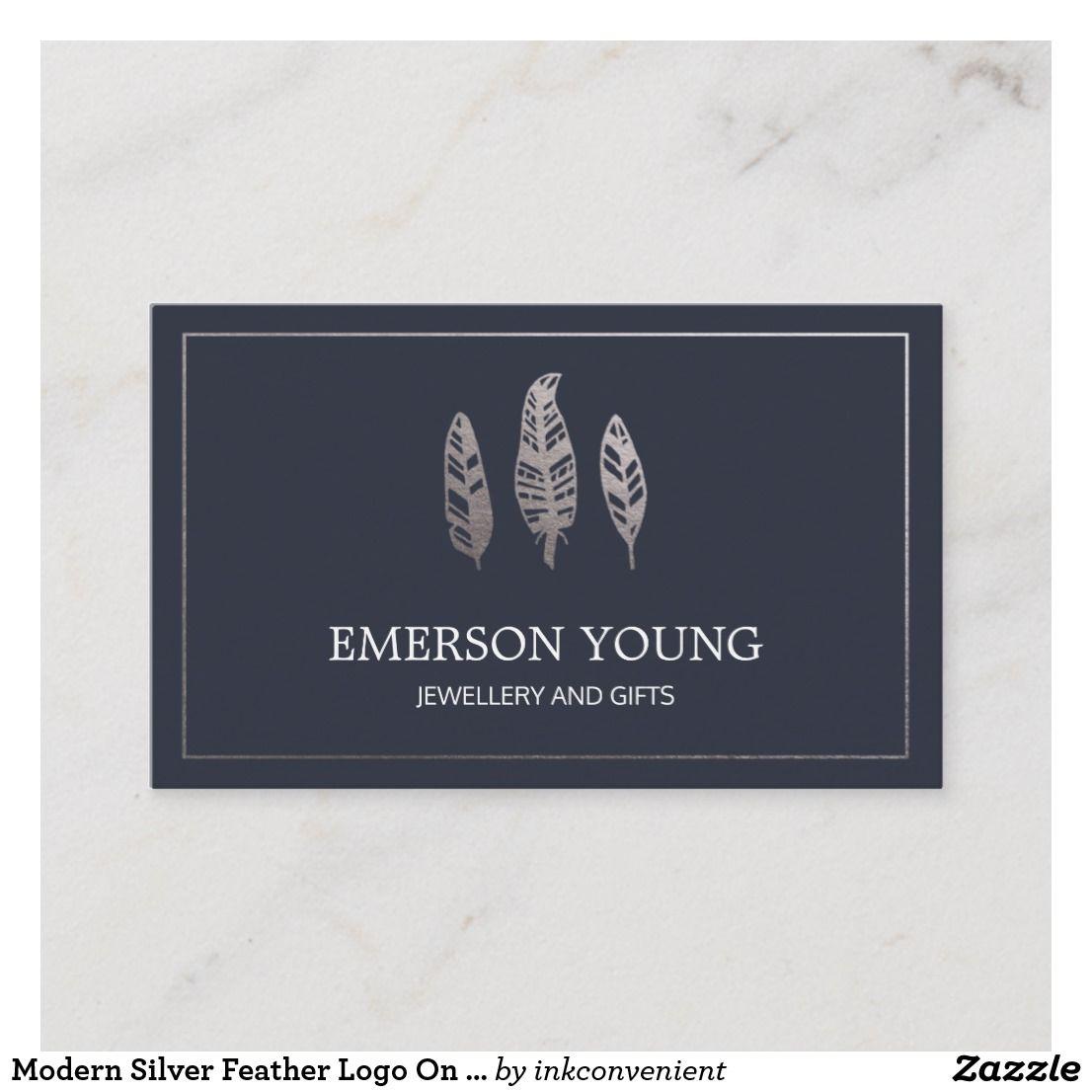 Modern Silver Feather Logo On Dark Navy Business Card Template Businesscardtemplate Businessbr Minimalist Business Cards Feather Logo Modern Business Cards