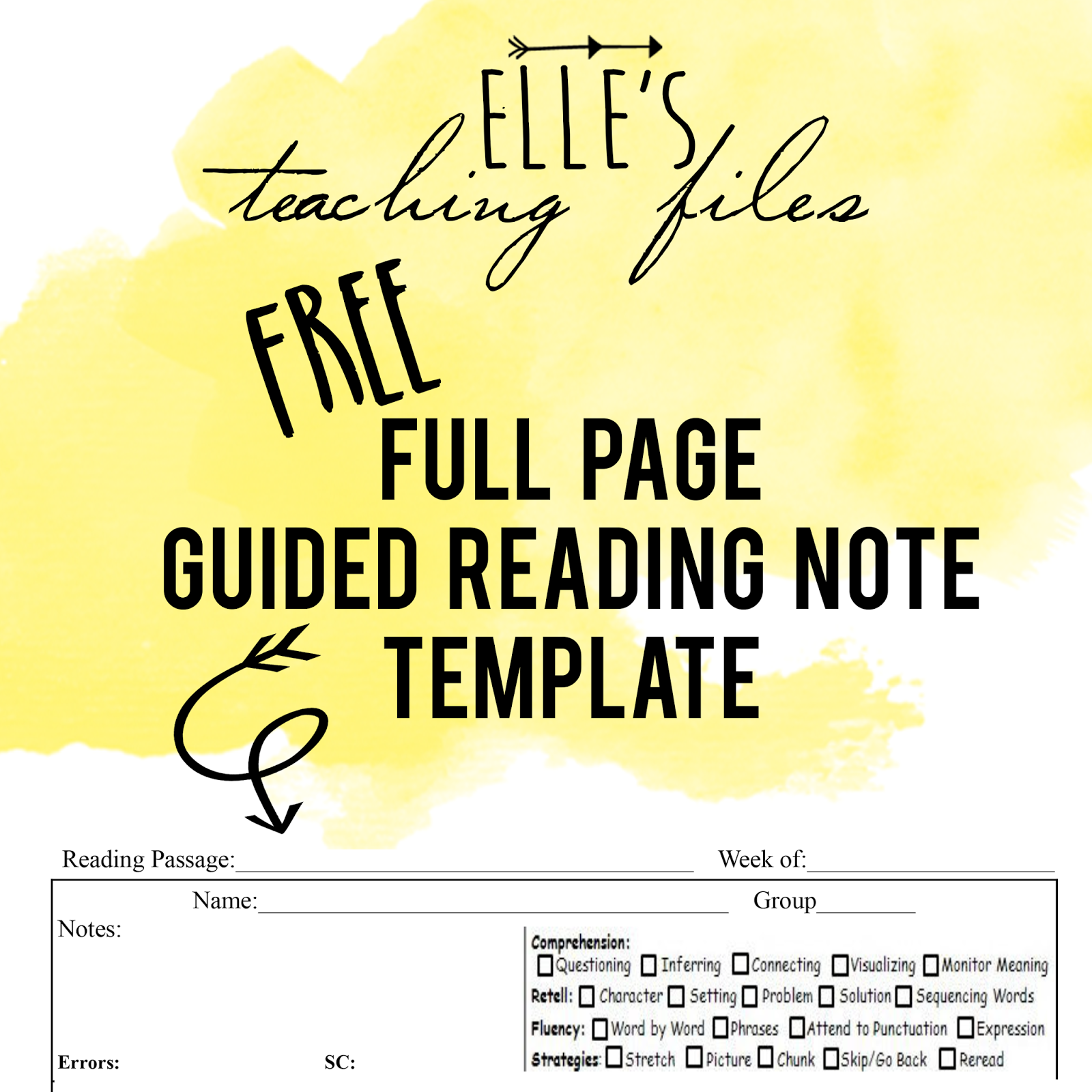 Guided Reading Note Template  Anecdotal Recordings  Free