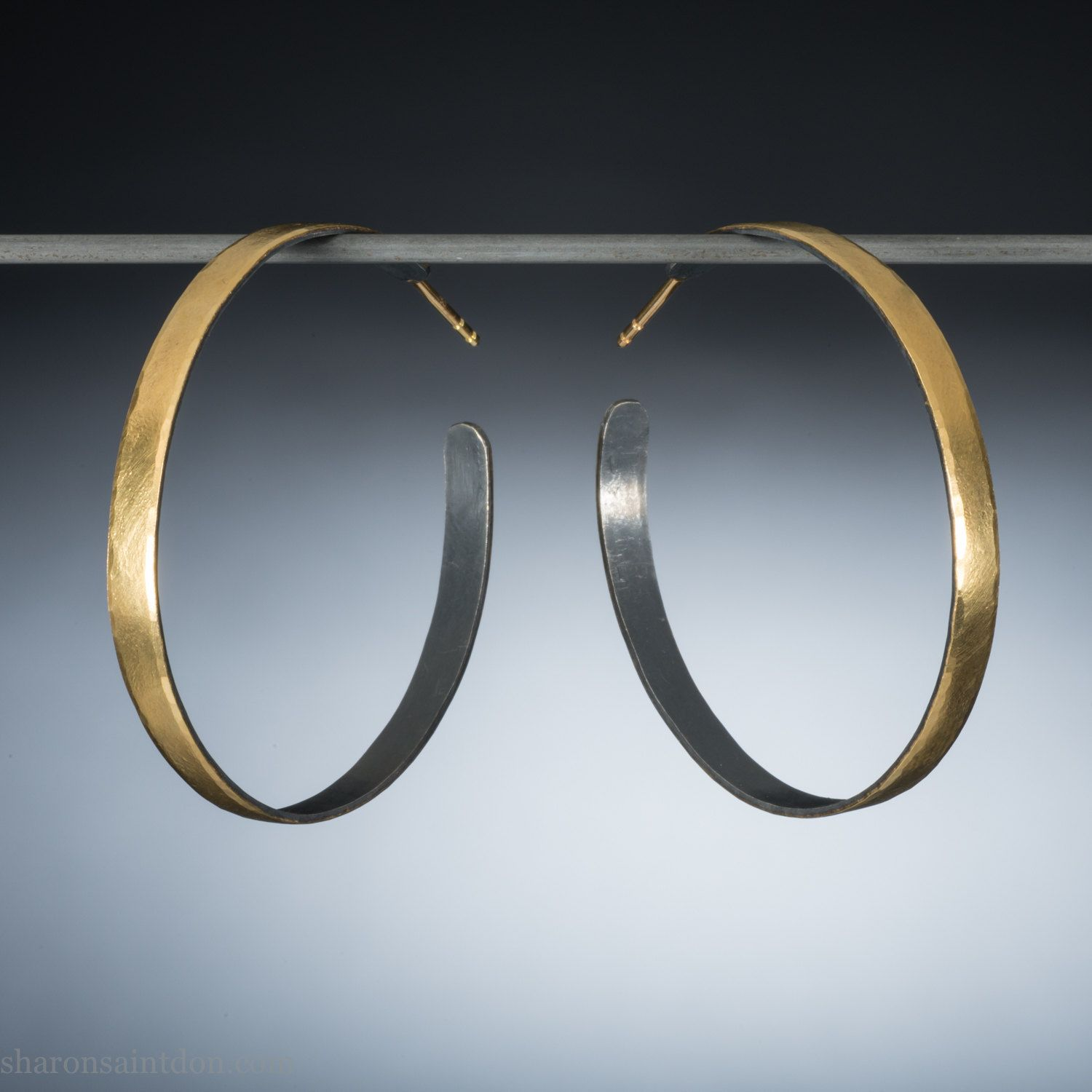 560 Gold Hoop Earrings 50mm 2 Inch For Women Wide Handmade 22k Solid 18k Posts Locking Backs Very Special Gift Her Ehwg 50 By