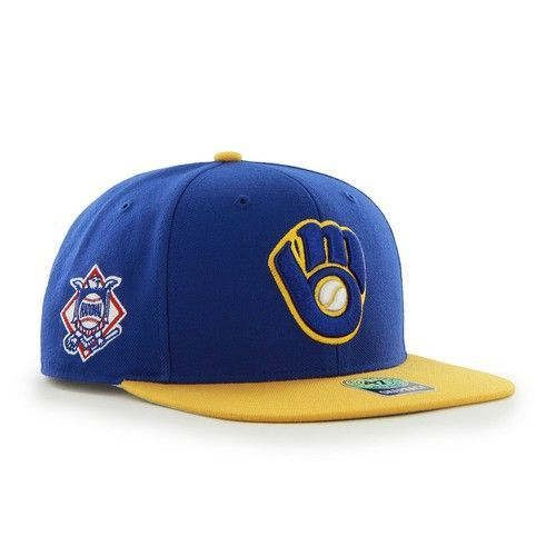big sale 779c2 d493e Milwaukee Brewers  47 Brand Sure Shot Captain Snapback. This Flat Brim  Snapback hat is made from a 85 15 wool blend. The two-tone snapback cap  features a ...