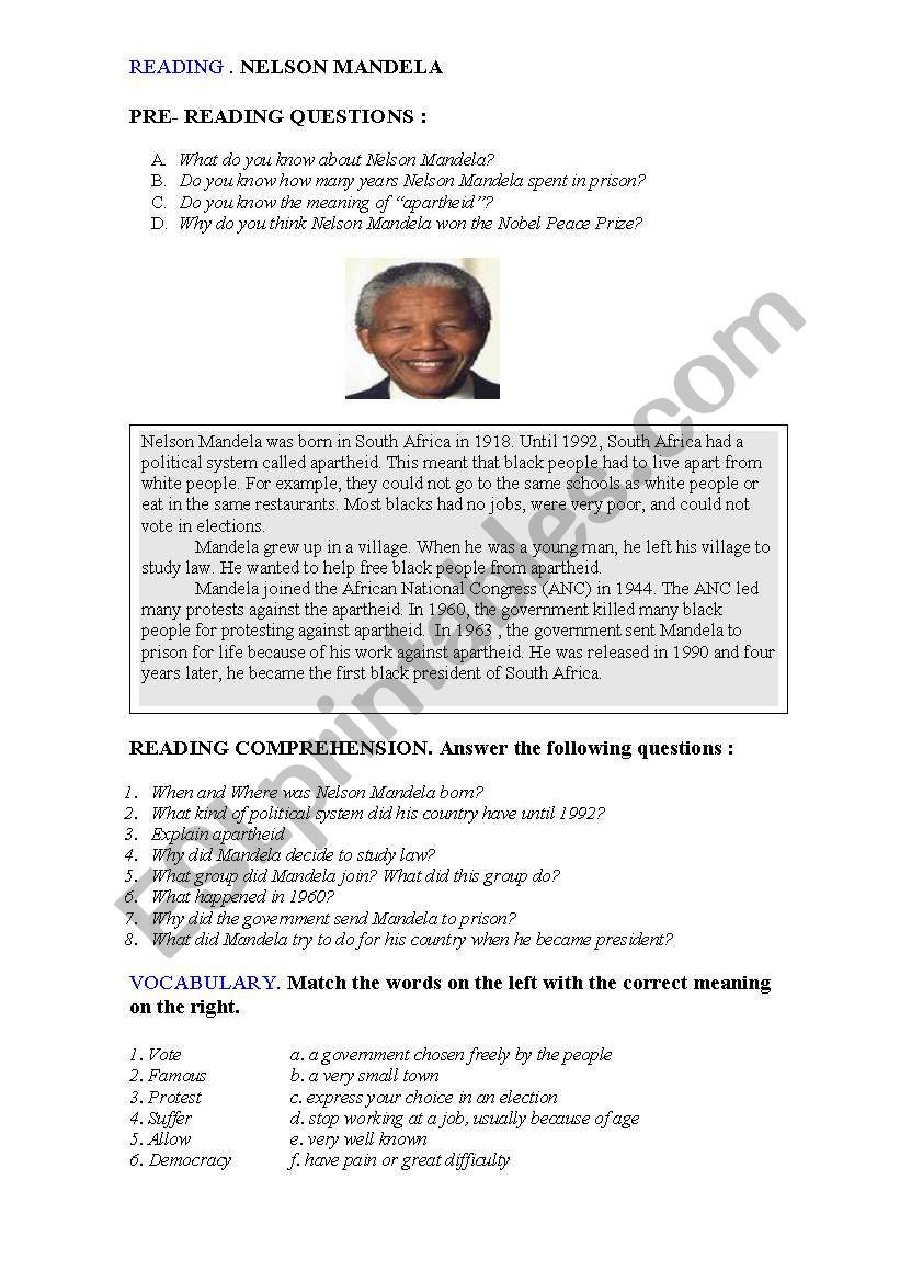 Reading Nelson Mandela Worksheet Nelson Mandela Mandela Reading [ 1169 x 821 Pixel ]