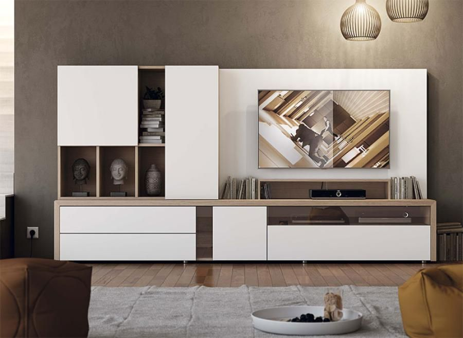 contemporary modern wall storage system with cabinet, shelving and